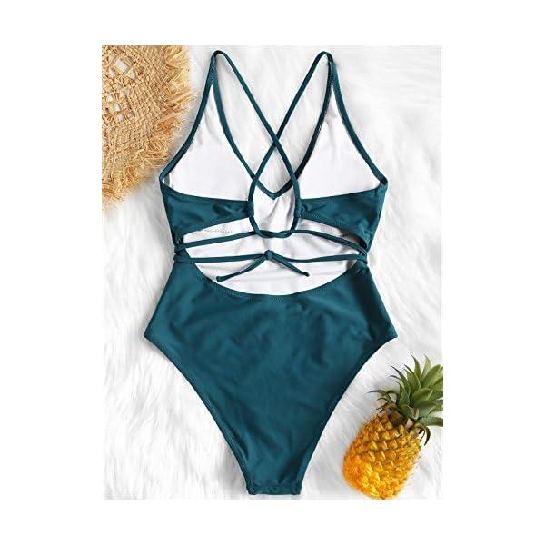 ZAFUL Set Bikini Donna Imbottito, Costume da Bagno Intero, Costume da Bagno con Schiena Aperta, Pushup Sexy Beachwear 3 spesavip