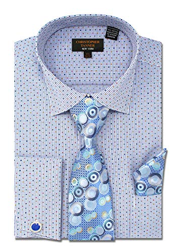 Christopher Tanner Men's Regular Fit Dress Shirts with Tie Hanky Cufflinks Combo French Cuffs Checks Dot Printed Pattern Blue