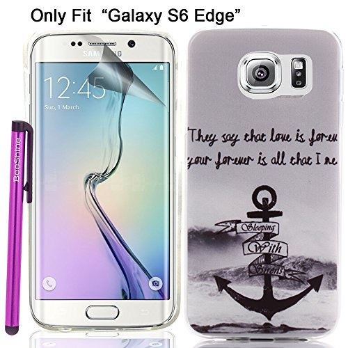 """Galaxy S6 Edge Case, BeeShine® Retail Package [Love Anchor Style] Slim-fit [Ultra Thin TPU Gel] """" Galaxy S6 Edge"""" Soft Rubber Skin TPU Gel Case Cover W/ LCD Film Screen Protector & Touch Stylus Pen For Samsung Galaxy S6 Edge (SM-G925)"""