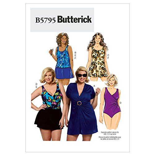 (Butterick Patterns B5795 Women's Cover-Up Top Sewing Pattern, Swimdress, Swimsuit, Skirt and Briefs, Size RR (18W-20W-22W-24W))