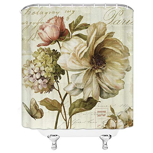 Xnichohe Rose Shower Curtain Flying Butterfly Compact Flower English Letters Pattern, Personalized Bathroom Decoration 70x70 Inch Waterproof Polyester Fabric with Hook ()