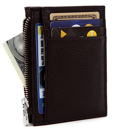 DEEZOMO RFID Blocking Genuine Leather Front Pocket Secure Mini Wallet – Coffee