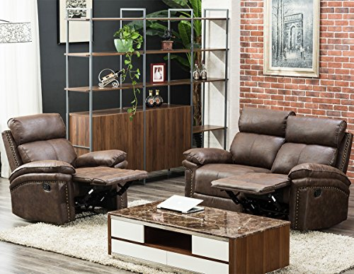FLIEKS 2 Piece Sectional Recliner Sofa Set Reclining Sofa Chair Bonded Leather Sofa Couches (1 Seat+ Loveseat, Brown)