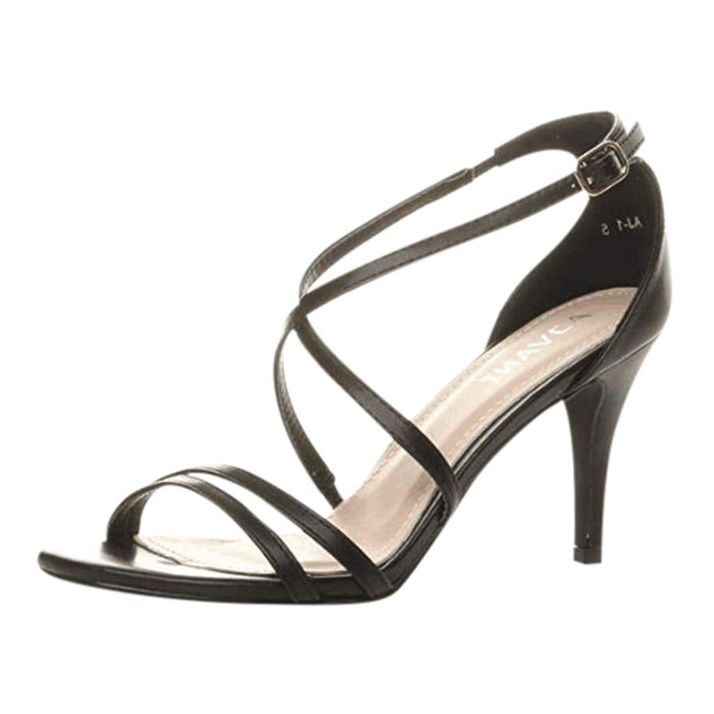 ZOMUSAR New! 2019 Women's Ladies High Heel Strappy Party Wedding Prom Sandals Ankle Buckle Shoes Black