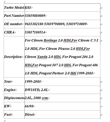 GOWE turbo turbocompresor para K03 53039880009 53039700009 706977 Turbo turbocompresor para Peugeot 206 307 406 para Citroen C5 - Xantia 2,0 IDH DW10TD Rhy ...