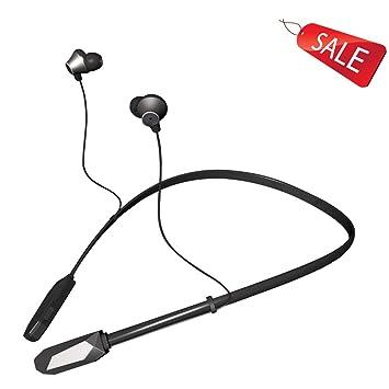 Auriculares Bluetooth deportivos cuello colgando de funcionamiento inalámbrico tapones para los oídos bajo del oído iPhone general Bluetooth 4.1 Negro Rojo ...