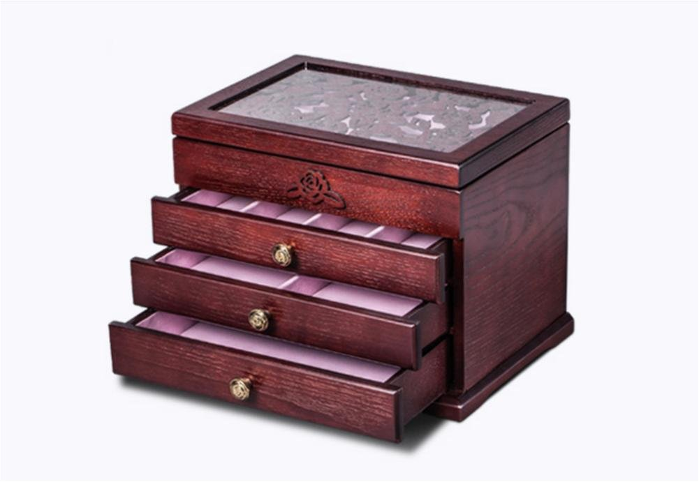 LUCKYYAN Wooden Jewelry Box / Jewel Case Cabinet Armoire Ring Necklacel Gift Storage Box Organizer (Red wine) , c
