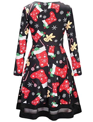 manicotto Vestito Lungo Moda Stampa Pullover Floreale Comodi Natale Di 13 Delle Donne dq4qwxF