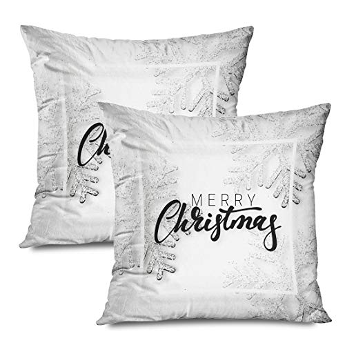 Ahawoso Set of 2 Throw Pillow Covers Square 18x18 Christmas Xmas Snowflake White Silver Element Snowflakes Banner Winter Textures Holidays Ornament Zippered Pillowcases Home Decor Cushion Cases (Snowflake Zippered Pillowcases)