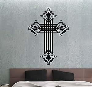 Christian Cross Wall Decal Vinyl Sticker Religious Decorations Home Living Room Bedroom Art