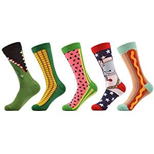 WeciBor Men's Funny Dress Combed Cotton Novelty Corn Food Party Crazy Socks 5 Packs
