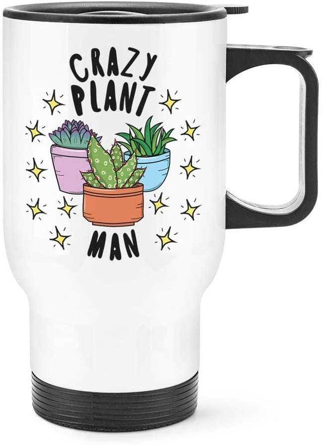 Bestqe Taza Aislada con Asa, Crazy Plant Man Stars Travel Mug Cup With Handle Funny Fathers Day