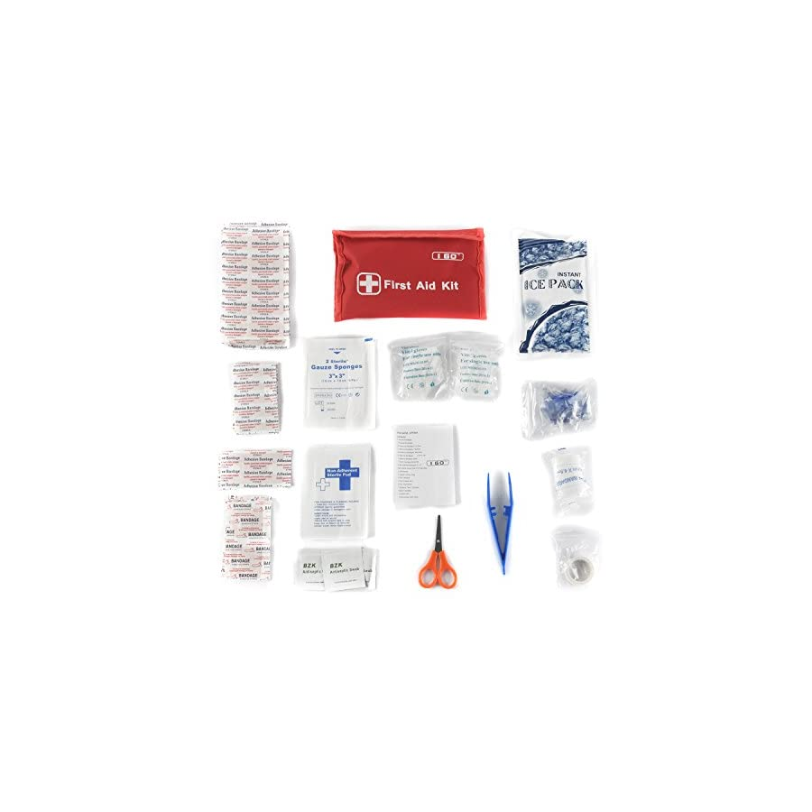 I Go Mini First Aid Kit 92 Pieces Compact Small Kit for Hiking Camping Home and Outdoors