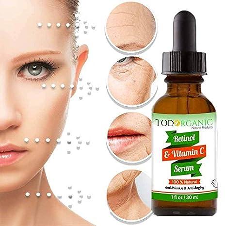 Amazon.com : Todorganic Vitamin C & Retinol Serum - Producto Facial Profesional - 100% Natural Para El Cuidado De La Piel, Manchas De La Cara Por La Edad, ...