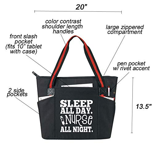 Large Nursing Tote Bags for Nurses - Perfect for Work, Gifts for CNA, RN, Nursing Students (Nurse All Night Black)
