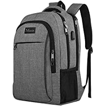 Travel Laptop Backpack,Business Anti Theft Slim Durable Laptops Backpack with USB Charging Port,Water Resistant College School Computer Bag for Women & Men Fits 15.6 Inch Laptop and Notebook - Grey