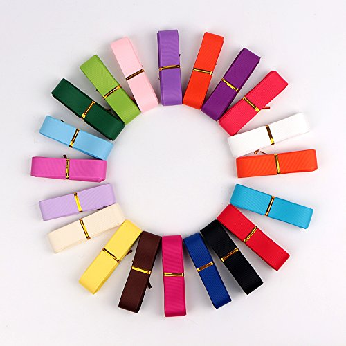 1 inch width,100 yrds(20×5)Length Solid Grosgrain Ribbon Value Pack 20 multi color (Grosgrain Ribbon Pack Value)