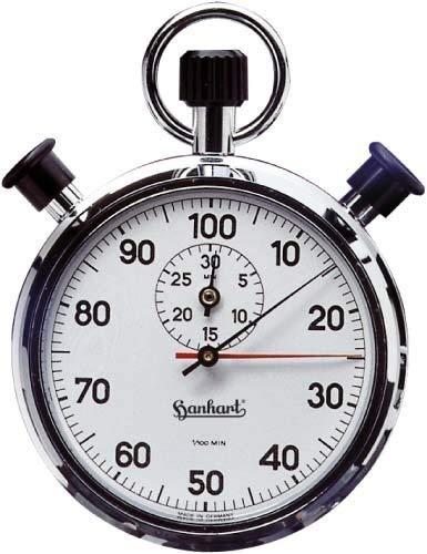 HANHART Doppelzeigerstoppuhr AWF2 Einteilung 1//100 Minute
