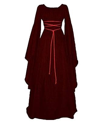 05c3c2845506 Damen Kleid Maxikleid Retro Boho Kleid Rundhalskleider Halloween Kostüm Langarm  Kleid Renaissance Gotisch Kleider  Amazon.de  Bekleidung