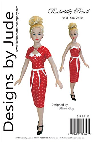 """Rockabilly Doll Clothes Sewing Pattern for 18"""" Kitty Collier Dolls Tonner"""