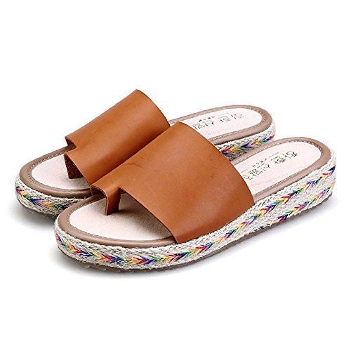 Btrada Womens Slides Sandals Clip Toe Anti-Slip Sole Slip on Platform Brown 6Cv3Ml