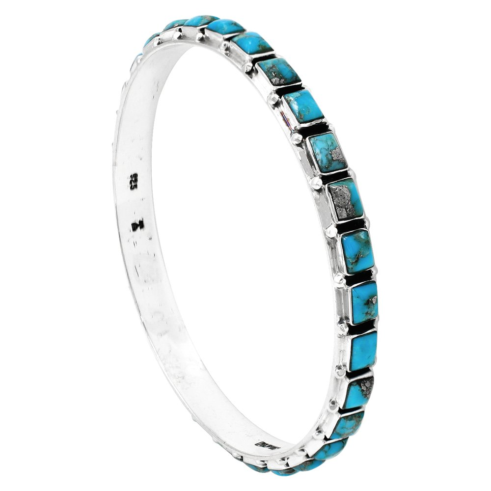 Stackable 925 Sterling Silver Bangle Bracelet with Genuine Turquoise and Gemstones (Turquoise w/Pyrite)