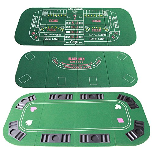 - IDS Home 3 in 1 Folding Casino Texas Hold'em Table Top Green (Poker/Blackjack/Craps) with Carrying Bag