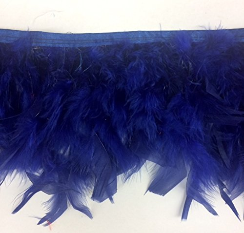 Navy Blue Candele Turkey Fluff Feather Fringe Trim 5.5'' - 6'' Long Selling Per ()