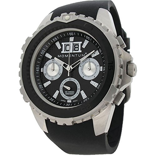 Momentum Men's 'D6 Chrono' Quartz Stainless Steel and Rubber Diving Watch, Color:Black (Model: 1M-DV22B4B)
