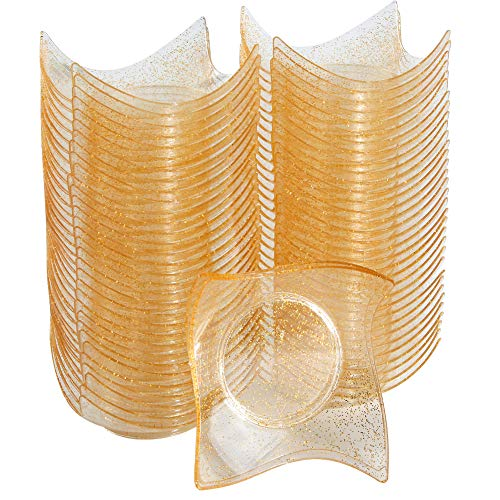 WDF 102Pack Gold Glitter Dessert Plates-Plastic Mini Tasting Plates-Disposable Dessert Bowls for Appetizer, Salad, Fruits, Nuts