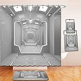 Nalahome Bath Suit: Showercurtain Bathrug Bathtowel Handtowel Outer Space Decor Supernatural Science Based Light Travel to Planet Solar System Explore Image Gray