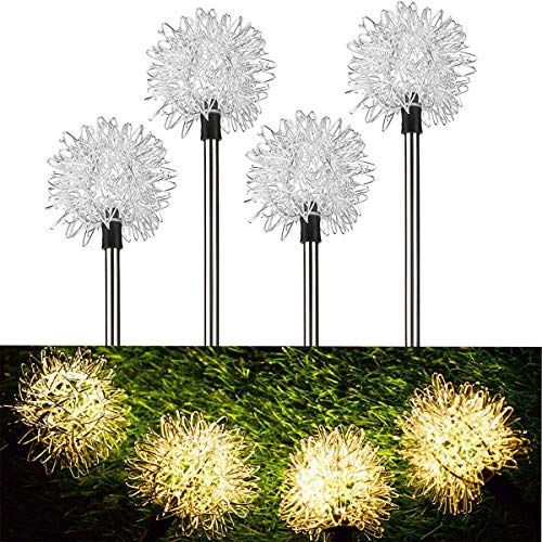 Decorative Garden Solar Lights Outdoor, Warm Colored Solar Powered Flower Lights, LED Landscape Lighting with Stakes for Garden Pathway, Walkway, Driveway, Landscape, or Patio - Set of 4