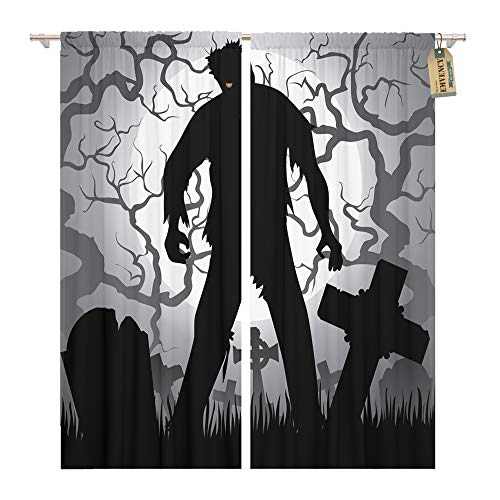 Emvency Window Curtains 2 Panels Rod Pocket Drapes Satin Polyester Blend Monster Halloween Zombie Tree Tombstones The Moon Cemetery Silhouette Living Bedroom Drapes Set 104 x 96 Inches