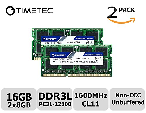 Timetec Hynix IC 16GB Kit(2x8GB) DDR3L 1600MHz PC3L-12800 Non ECC Unbuffered 1.35V CL11 2Rx8 Dual Rank 204 Pin SODIMM Laptop Notebook Computer Memory Ram Module Upgrade(16GB Kit(2x8GB)) by Timetec