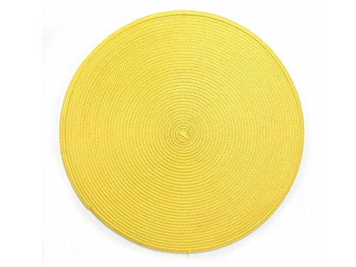Yellow Round Placemats Plastic Wipe Off Set Of 8 Table