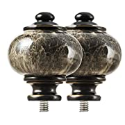 KAMANINA Replacement finials for 1 Inch Curtain rods, Drapery Rod Finials, Bronze Marbled Texture, M6 Standard Screw, 2pcs