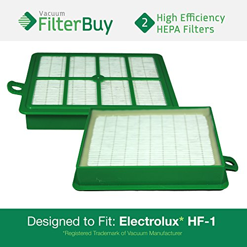 FilterBuy 2 Eureka Electrolux Sanitaire Compatible Washable HF1 (HF-1) HF12 (HF-12) HEPA Filters, Part # 60286A, Designed to fit Eureka Electrolux Sanitaire Canister Vacuum Cleaners.