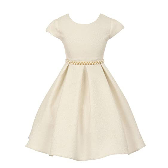 Amazon.com: Good Girl Little Girls Off-White Embroidered Jacquard ...