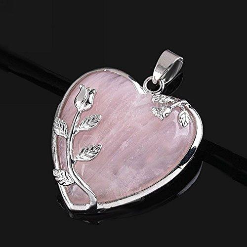 (KEANER Quartz Gemstone Heart Flower Jade Pendant Jewelry Making Accessories)