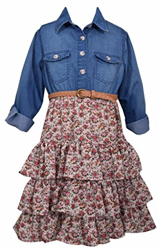 Bonnie Jean Denim To Floral Tiers Dress, Girls, Sz 5 (Country Girl Clothing Dresses)