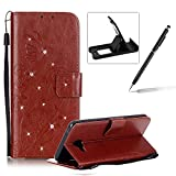 Wallet Case for Samsung Galaxy A5 2016 A510,Strap Portable Leather Case For Samsung Galaxy A5 2016 A510,Herzzer Stylish Bling Diamonds Brown Butterfly Embossed Pu Leather Purse Pouch Magnetic Closure Flip Folio Protective Case