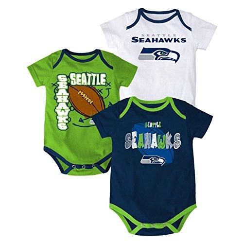 Seattle Seahawks Bodysuit 3-Point Spread Baby Creeper Set