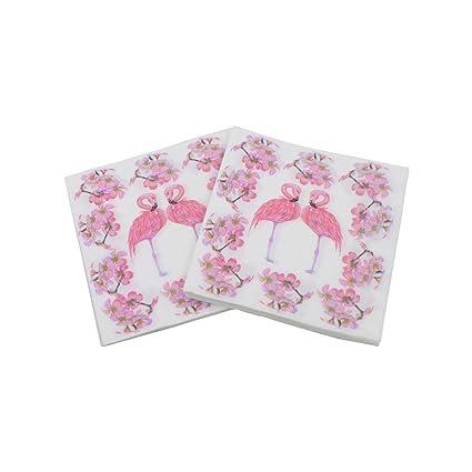 Gysad 1 paquete (20 hojas/paquete) Patrón de flamenco Servilletas papel Pulpa de