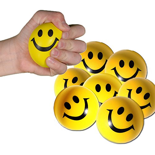 Smiley Face Stress Balls - Mega Bulk Pack of 12 Balls - Toy Cubby Stress Relief Hand Exerciser.