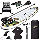 SBBC - Inflatable Paddle Board ULTIMATE DELUXE Package | 10'6 Aqua Discover ISUP | Custom Print Stand Up Paddle Board Package includes standard itemsPLUS Kayak Seat/Kayak Blade/Cooler/Fanny Pack