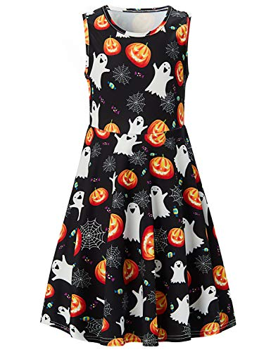 Halloween Pumpkin Ghost Candy Cobweb Printed Summer Clothes Basic Dresses for Girls 8-9T for $<!--$13.96-->