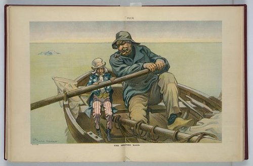 Photo: Helping Hand, Uncle Sam rowing a sailboat with JP Morgan, Puck, April 26, 1911 . Size: 8x10 (