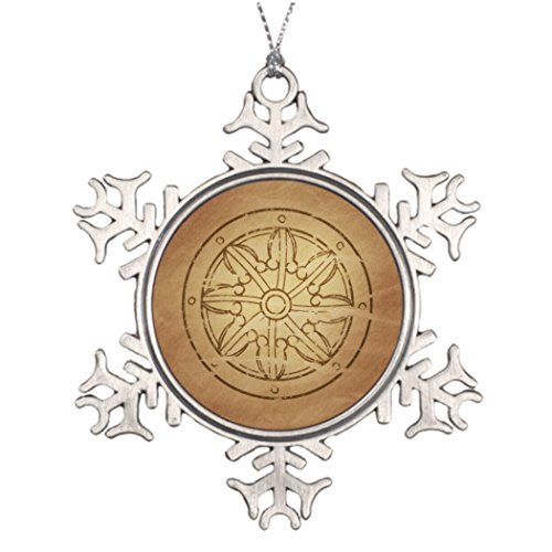 Metal Ornaments Karma The Wheel of Law Buddhist Tree Branch Decoration Merry Christmas From Heaven Snowflake Ornament