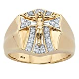 Kyпить Men's 18K Gold over Sterling Silver Diamond Crucifix Ring (.33 cttw, IJ Color, I9 Clarity) Size 10 на Amazon.com