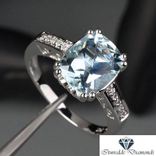 - 14k Cushion Cut Aquamarine Antique Style Double Prong Diamond Pave Engagement Ring